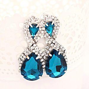 Blue Crystal Tear Drop Earings